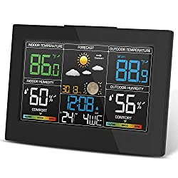 Geevon Weather Station Wireless Indoor Outdoor Thermometer Temperature Alert Comfort Level Barometer Alarm Clock Weather Forecast Easy to Set Triangle Base