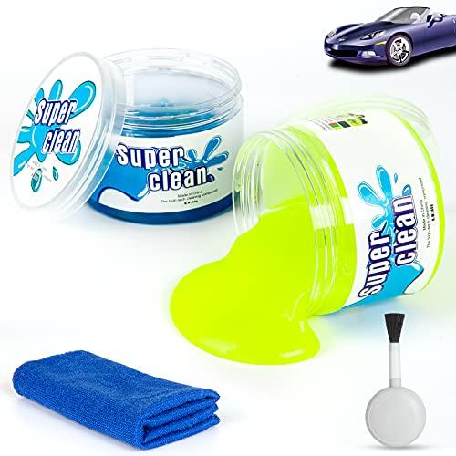 BOZKAA 2pcs Auto Reinigungsknete,für Autoreinigung Entlüftungsöffnungen,Laptops,Fernbedienung,Drucker,reinigungsgel von Kameras können Tastatur Reinigung