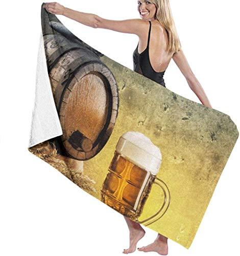 Toalla de Playa Barril de Cerveza Retro Toallas de baño de Microfibra Toalla de Secado rápido Manta para Viajes Piscina de natación Yoga Camping Gimnasio Deporte 80X130 Cm