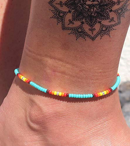 Anklet for Women, Turquoise Beaded Native American Style Boho Anklet, Bohemian Hippie Colorful Beach Summer Anklet for Women and Girls, Handmade by Tribes
