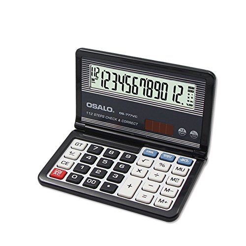 Folding Calculator 112 Steps Check & Correct Function Calculator Folable Pocket Calculator 12-Digit Large Display Solar and AAA Battery Dual Power Calculators with Hardcase for Business Financial Home
