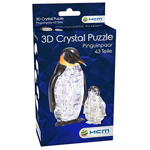 3D Crystal Puzzle Pinguinpaar Puzle de Cristal en 3D, diseño de Pareja de pingüinos, Color carbón (59187)