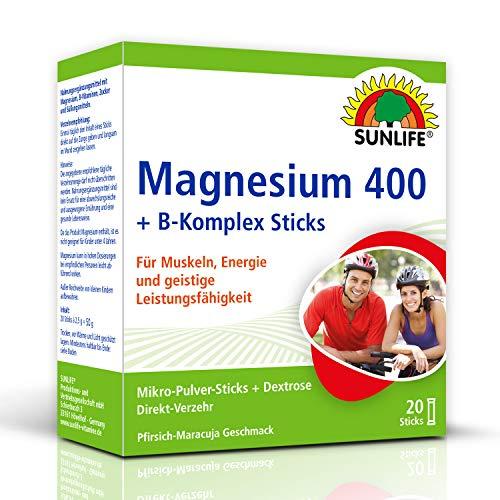 SUNLIFE Magnesium 400 + B-Komplex Sticks: für Muskeln, Nerven und mehr Energie, 20 Sticks à 2,5g