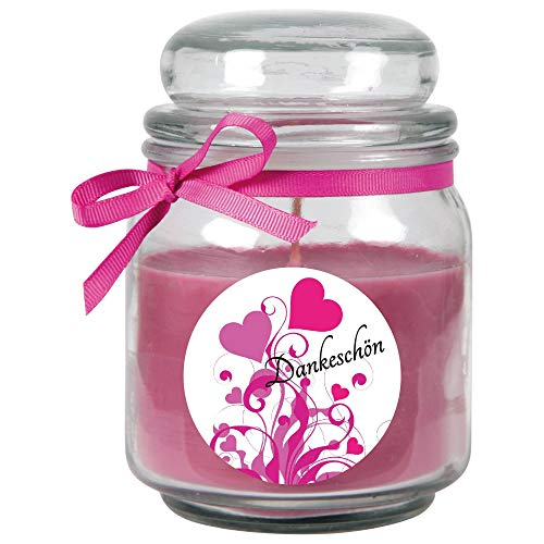 HS Candle Dankes-Duftkerze im Bonbonglas Danke, Duft: Lavendel (Lila), 300g - Brenndauer bis zu 70 Stunden, Kerze aus Glas mit Duft