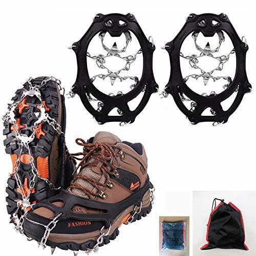 QWEWQE 19 Zähne Edelstahl Steigeisen Grödel Eisspikes, Kieselgel Klettern Non-Slip Schuh Steigeisen für Winter High Altitude Wandern Bergsteigen auf EIS Schnee Gletscher (schwarz,XL)