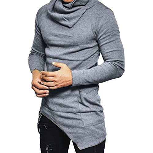 Katesid Mens Fashion Turtleneck Slim Fit Pullover Sweater Oblique Line Bottom Edge (US S/Tag M, Grey)