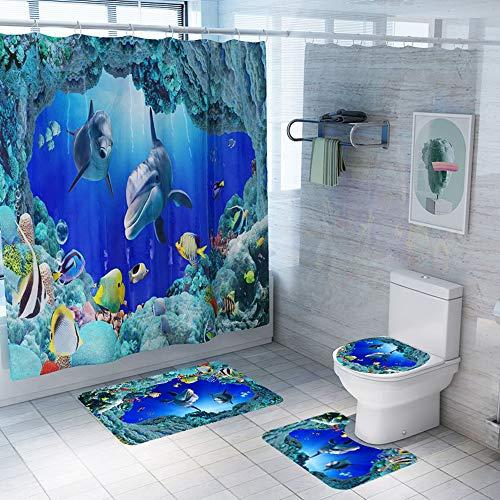 Enhome Juego de 4 Piezas de Cortinas de Ducha, Alfombra de baño Antideslizante + Tapa de Inodoro + Cortina de Ducha Resistente al Moho 3D Impresión Oceano (Delfín)