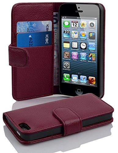 Cadorabo Funda Libro para Apple iPhone 5 / iPhone 5S / iPhone SE en Burdeos Violeta - Cubierta Proteccíon de Cuero Sintético Estructurado con Tarjetero y Función de Suporte - Etui Case Cover Carcasa