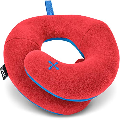 BCOZZY Kinder Nacken und Kinn stützendes Reisekissen - unterstützt den Kopf, Hals und das Kinn. Ein Patentiertes Produkt. Kindergröße, ROT