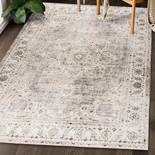 ReaLife Machine Washable Rug - Stain Resistant, Non-Shed - Eco-Friendly, Non-Slip, Family & Pet Friendly - Made from Premium Recycled Fibers - Vintage Bohemian Medallion - Beige Ivory, 5' x 7'