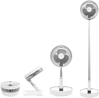 Folding Pedestal Stand Fan Mini Telescopic Fan USB Rechargeable Table Floor Fan Built-in 7200mAh Battery 4 Speeds Adjustab...