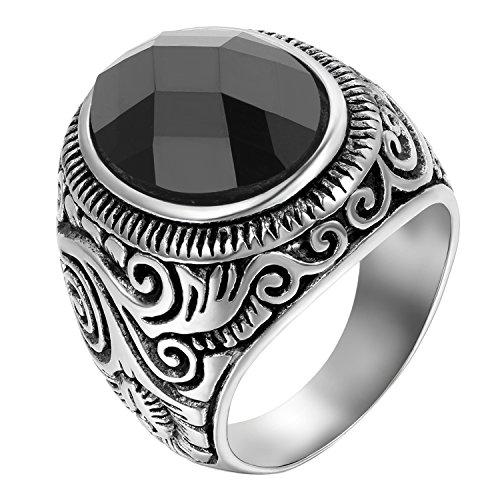 JewelryWe Schmuck Herren-Ring, Klassiker Retro Charm Schnitzerei, Edelstahl Glas, Schwarz Silber - Größe 74