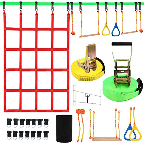 "X XBEN Obstacle Course Kids 50' Slackline Kit, Ninja Warrior Training Equipment for Adult, Come with Jungle Gym Monkey Bars, 78.7"" 47.2"" Climbing Net, Gymnastic Bar"