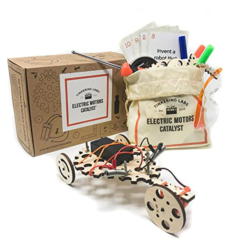 Tinkering Labs Electric Motors Catalyst STEM Kit w/ 50+ pieces, Robotic STEM Projects for Kids Ages 8-12, Educational Gift and IQ Builder for Boys and Girls