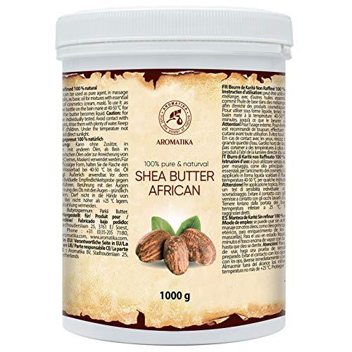 Manteca de Karité - 1000g - Shea Butter Africana - Puro y Natural Butyrospermum Parkii - Óleo Corporal - Hidratante Corporal - Aceite para el Cabello - Piel - Uñas - Labios - Cuidado Facial