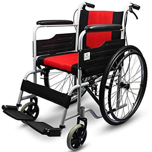 D-Q Autopropulsada plegable silla de ruedas con el frente y trasero Freno de mano for mayores, disca