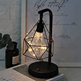 Metall Tischlampe,Retro Tischleuchte Dekorative Nachttischlampe Diamond Form Schreibtischlampe...