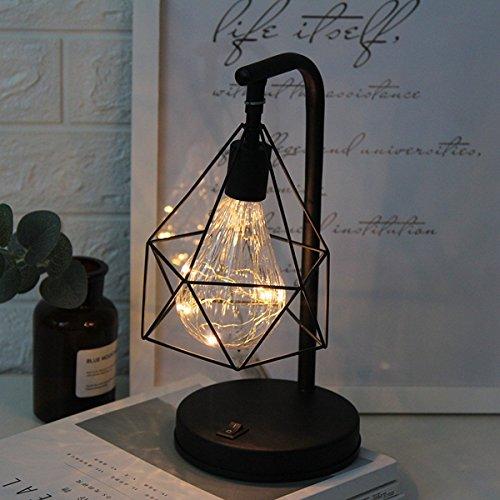 Metall Tischlampe,Retro Tischleuchte Dekorative Nachttischlampe Diamond Form Schreibtischlampe batteriebetriebene Nachtlicht dekorative Beleuchtung