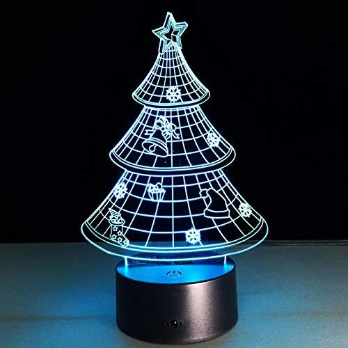 HGFHGD Árbol de Navidad Navidad Lámpara 3D Bombilla LED Iluminación USB Toque...