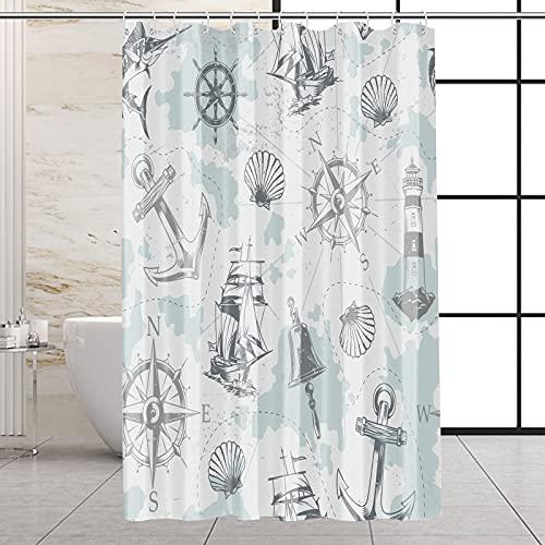 VEGA U Nautical Fabric Shower Curtain for Bathroom, Vintage Anchor Bath Decor with Hooks, Hotel Quality, 72x72 Inch, Blue and Grey