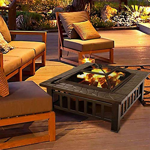 HWGNT 32'' fire pits outdoor wood burning large BBQ Garden Stove with Spark Screen Cover Log Grate and Poker for Outside Wood Burning and Drink Cooling