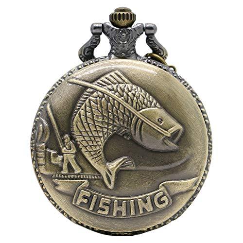 Vintage Montre de Poche Pêche la pêche Motif Montre de Poche Cadeau pour Homme et Femme