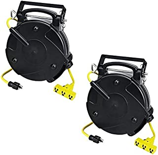 Case of 2 Industrial Heavy Duty 12/3 Retractable Extension Cord Reel W/ Tri-Tap