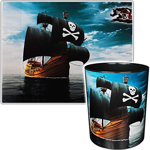 2 TLG. Set _ Schreibtischunterlage & Papierkorb - Pirat - Piratenschiff - Schreibtischset - Unterlage - 50 cm * 39 cm - abwischbar - Mülleimer Abfalleimer - S..