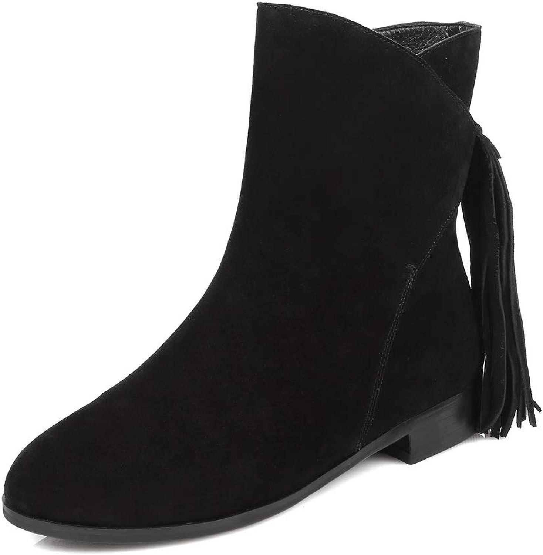 AdeeSu Womens Square Heels Tassels Imitated Suede Boots SXE04738