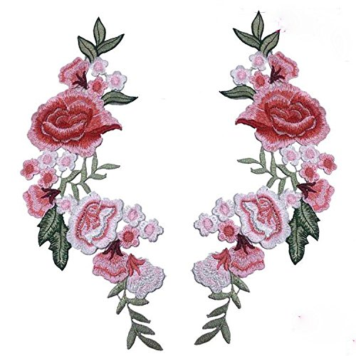 2 Pcs DIY Flowers Pair Applique Embroidered Patch Collar Floral Appliques Sewing on Patches Sewing DIY Clothing Accessories Craft Kids Clothing Hat Bag Badge Decor(3 Colors) (Pink)