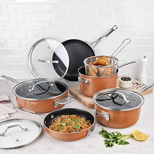 Gotham Steel Stackmaster Pots & Pans Set – Stackable 10 Piece Cookware Set Saves 30% Space, Ultra...