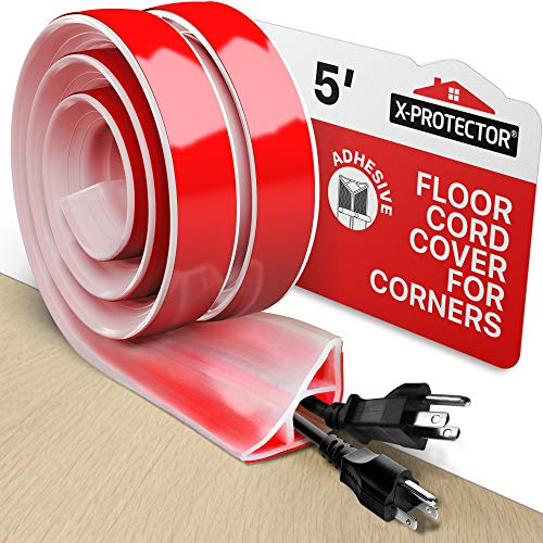 Floor Cord Cover X-Protector – 5' Silicone Baseboard Cord Protector for Corners – Over-floor Cord Protector – White Extension Cord Cover to Protect Wires On Floor – Self-Adhesive Power Cable Protector