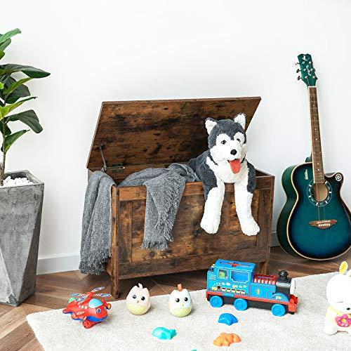 HOOBRO Spielzeugkiste, Sitzbank mit großer Stauraum, Vintage Schuhbank, Betttruhe, Flur, Schlafzimmer, Wohnzimmer, Holz, einfach zu montieren, Dunkelbraun EBF75CW01 - 6