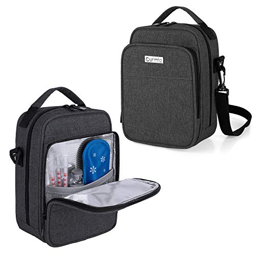 CURMIO Insulin Cooler Travel Case Diabetic Medication Organizer Bag with Shoulder Strap for Insulin Pens and Diabetic Supplies Black Patented Design