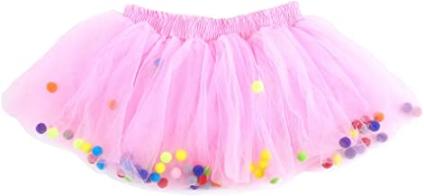 Moomintroll Baby Toddlers Girls Pettiskirt Dress 4 Super Soft Layers Rainbow Pom Pom Puff Balls Tutu Skirt