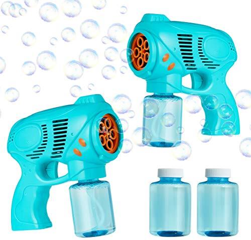 KreativeKraft Kit 2 Pistole Sparabolle di Sapone Bambini, Pistola per Bolle con Ricarica, Giochi Estivi da Esterno, Giardino, Piscina, Gadget Complean
