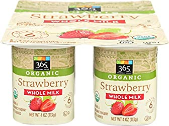 365 Everyday Value, Organic Whole Milk Yogurt, Strawberry, 6 ct
