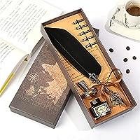 フェザーペン 1セットレトロビンテージ書道羽ディップペンインクセット文房具クイル噴水ペン創造的なビンテージペンのドロップシップ 書道 署名ペン (Size: 25-26cm; Color:Black)