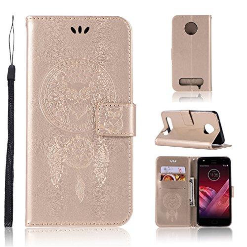 LMAZWUFULM Hülle für Motorola Moto Z2 Play (5,5 Zoll) PU Leder Magnetverschluss Brieftasche Lederhülle Eule & Traumfänger Muster Standfunktion Ledertasche Flip Cover für Motorola Z2 Play Gold