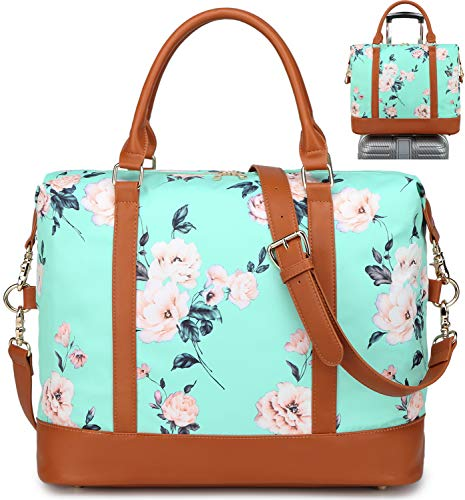 Travel Tote Bags for Women - Lightweight Carry-on Shoulder Gym Tote Bag Waterproof Overnight Weekend Travel Duffle Bags with PU Leather Strap and Back Trolley Sleeve for Ladies (Green)