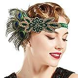ArtiDeco 1920 - Diadema de los años 20 para mujer, accesorio para disfraz de Gatsby Stil2 – Negro pavo real Talla única