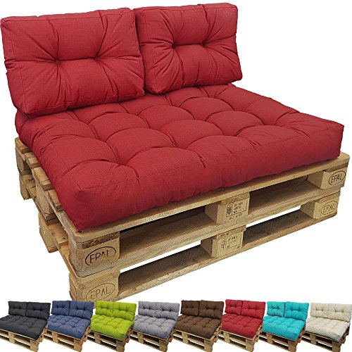 PROHEIM Cojin Palés Tino Lounge - Cojin De Asiento O Respaldo para Sofás Palets - Repelentes A Las Manchas (No Es Un Set), Color:Rojo, Variante:1 Cojín Pequeño De Respaldo 60x40 cm