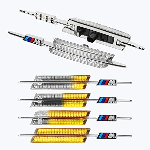 [1 Paar] OZ-LAMPE Dynamische LED Seitenblinker Laufblinker Fahrtrichtungsanzeiger [Bernstein] für Fahrzeug B-M-W E90 E91 E92 E93 E60 E61 E82 E88, Serie 3/5/1 (Klar)