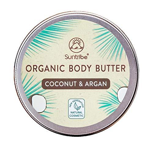 Suntribe Bio-Körperbutter KOKOS & ARGAN – 100% Bio – 3 Inhaltsstoffe – Natürlicher dezenter Kokosduft (Parfümfrei) – Pflegend & Feuchtigkeitsspendend - Reichhaltige Body Butter (150ml)
