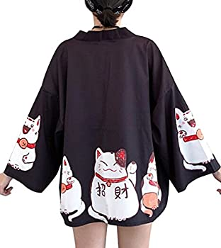 Women s 3/4 Sleeve Japanese Shawl Kimono Cardigan Tops Cover up OneSize US S-XL