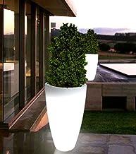 3er Set Solar Blumentopf weiß 3 LED Warmweiß 19x17 cm Pflanzkübel Blumenkübel