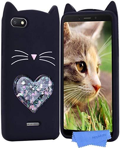 HopMore Gato Funda para Xiaomi Redmi 6A Silicona Dibujo 3D Divertidas Carcasa Kawaii Glitter Liquido Brillante Ultrafina Slim Case Antigolpes Caso Protección Cover Gracioso - Gatito Negro