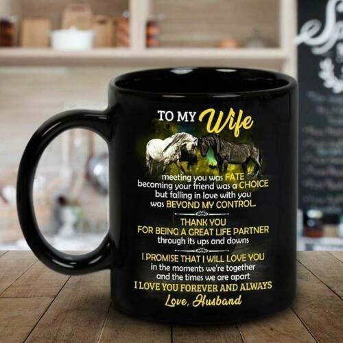 N\A Horse To My Wife Meet You Was Fate I Love You Mug Negro - Taza de café de 11 oz
