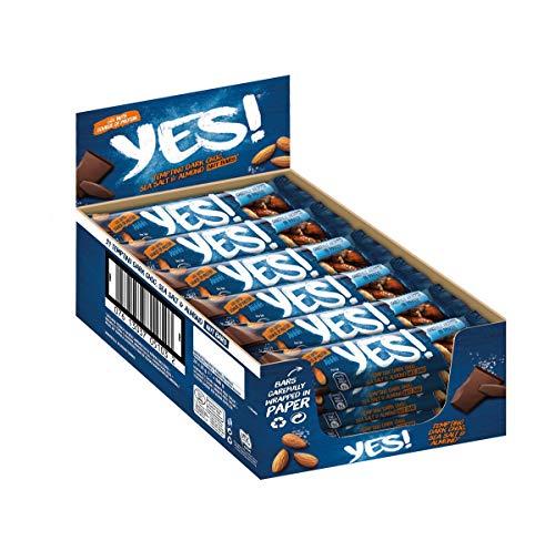 YES! Nussriegel Dunkle Schokolade, Meersalz und Mandel (Vegetarisch, 60% Nussanteil) 24er Pack (24 x 35g)