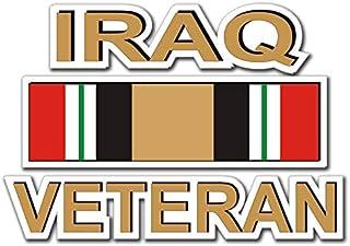 """Military Vet Shop US Army Iraq Veteran Ribbon Window Bumper Sticker Decal 3.8"""""""